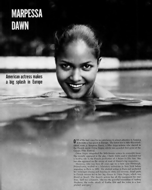 "vintageblackglamour:Marpessa Dawn of ""Black Orpheus"" fame in a 1959 issue of Ebony."