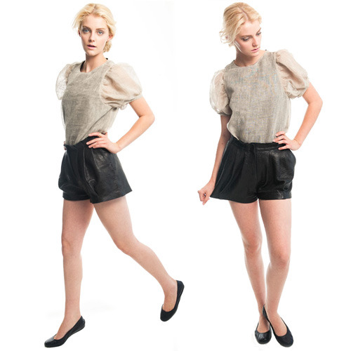 Leather Shorts Leather shorts can either be horrendously trashy or wickedly classic. One of my favorite LA-based designers, Heidi Merrick, has made the best ones I've seen yet with this pleated skate short.