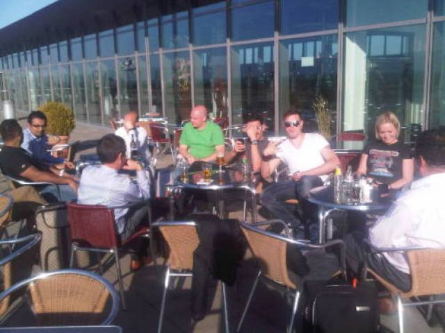 Beer on the balcony - Dortmund Airport