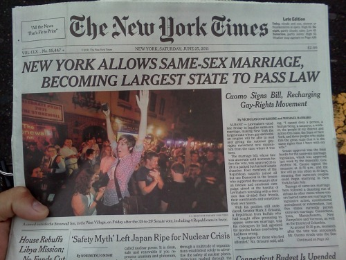 new york pass marriage equality act newspaper