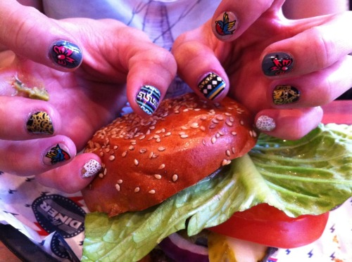 Nailburgerlar met up with The Illustrated Nail and what fun we all had chatting away, getting to know each other only to have time fly! Several hours later, 3 very happy nailburgerlars with spectacular nails jumped for joy at the awesomeness of The Illustrated Nail.<br /> Here is 1/3 of Nailburgerlar's Burger and Nails post.<br /> The Californian Burger with Guacamole & Emmentel cheese was from The Diner in Hoxton. 7 patties out of 10. The burger pattie tasted a bit watery.<br /> Much Love!<br /> - Jackie Nailburgerlar