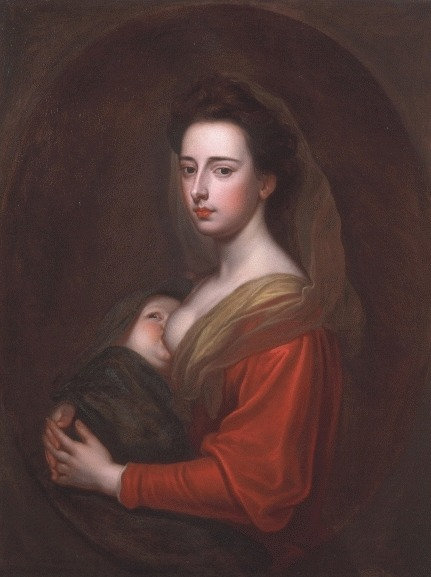 <br /><br />Portrait of Lady Mary Boyle and her son Charles 1700c.</p><br /><p>Sir Godfrey Kneller Bt, Studio of 1646 - 1723</p><br /><p>This image is remarkable, and to all present researches, unique in the work of British portrait painters in the decades either side of 1700. There is no immediately comparable image of a mother suckling a child, and despite the obvious references to the Virgin Mary -a play on the sitter's name- the painting is unmistakeably a true and tender image of motherhood.<br /><br />