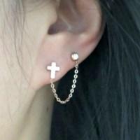 18K Rose Gold Cross Cartilage Double Piercing Earrings ...