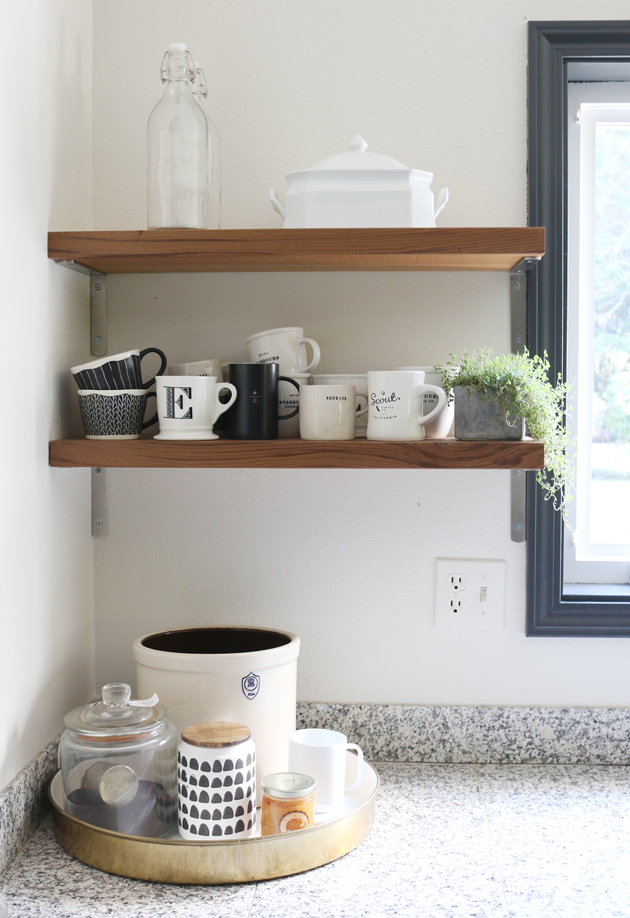 kitchen shelf brackets wood island all about our shelves jones design co what i really wanted were very minimal thick floating but them at a reasonable price aka inexpensive and sturdy enough to hold