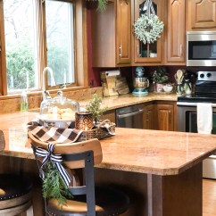 Greenery Above Kitchen Cabinets Cost Of New Christmas Decor Tour In Black