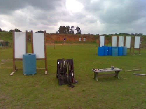 Left side - start of stage. rifle rack = 2 gun time!