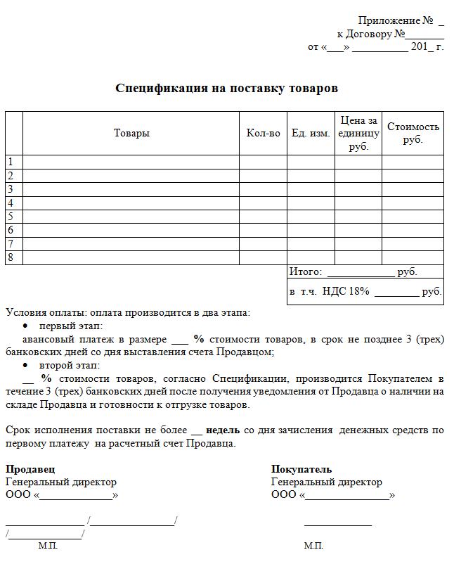 образец составления спецификации к договору