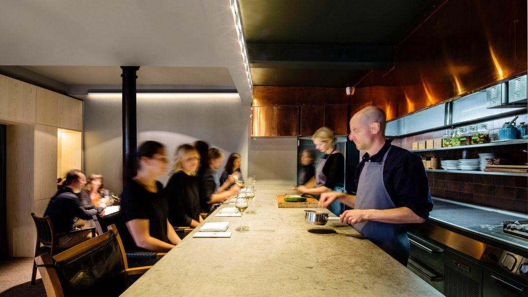 K-array rail lighting installation in restaurant
