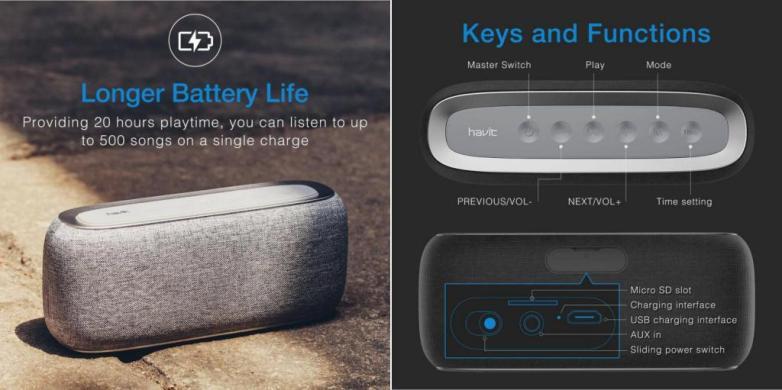 Havit MX801/M29 Wireless Bluetooth Speaker With Alarm Clock gadgetoo