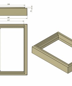 8-рамочный подкрышник Аргон из ППУ, подкрышник для улья на 8 рамок, подкрышник-проставка 8, чертеж подкрышника, чертеж улья ппу, чертеж формы для улья