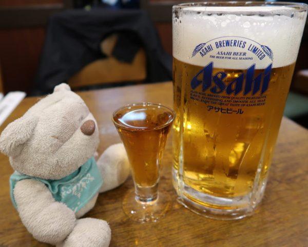 Asahi Draft and Denki Bran Brandy from Kamiya Pub Tokyo