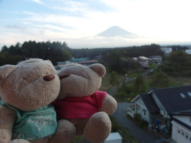 View of Mount Fuji from balcony of Fujizakura Inn