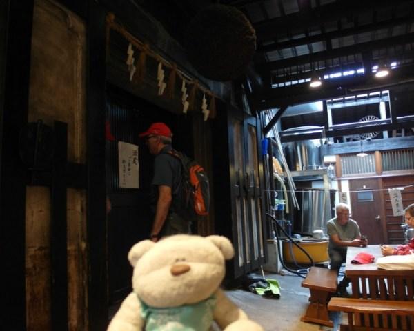 Inside sake shop for sake tasting in Takayama for 200 yen