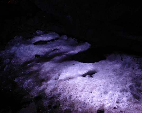 Ice pool in Fugaku Wind Cave Mount Fuji