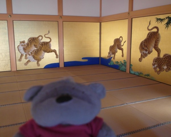Intricate Tiger paintings on walls within Honmaru Palace of Nagoya Castle