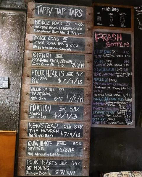 Beers available on tap at the Scratch Bar Brisbane
