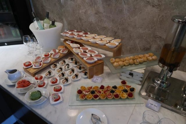 Sushi and pastry selection during cocktail hours at Mercure Singapore Bugis Privilege Lounge