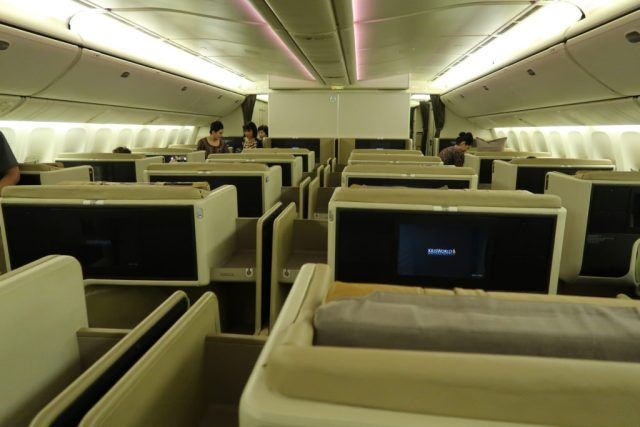 Spacious 1-2-1 layout of SQ 777-300ER Business Class
