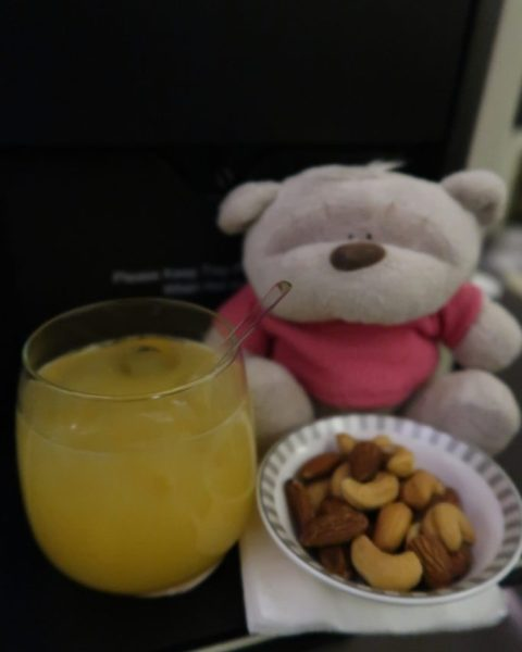 Warmed nuts on Singapore Airlines Business Class