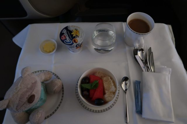 Fruits before breakfast aboard Singapore Airlines Business Class