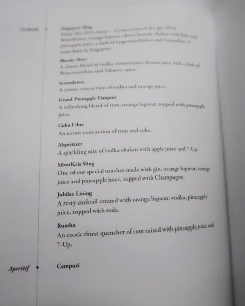 Singapore Airlines Business Class Cocktail Menu