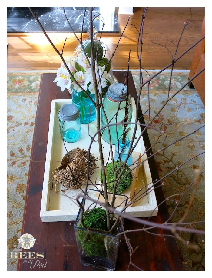 Spring coffee tabletop using a natural birds nest, aqua vintage Mason jars, antique inkwell and moss