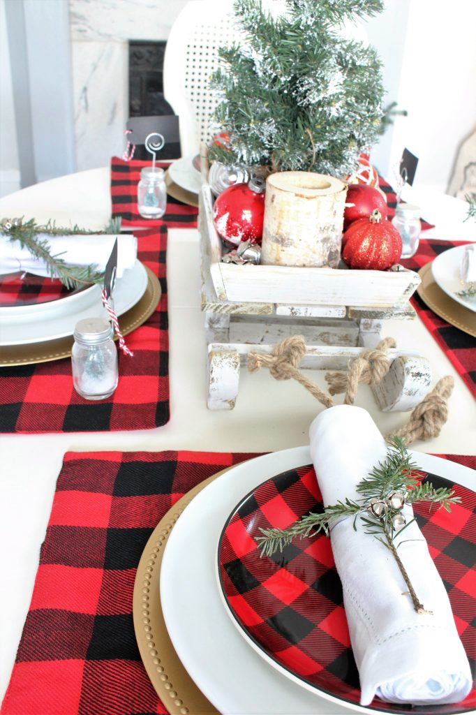 Buffalo Check Christmas Tablescape  2 Bees in a Pod