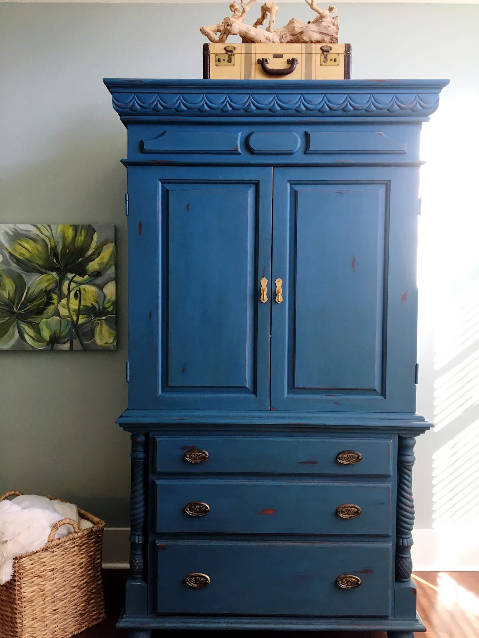 Chalk Painted Armoire Makeover  Aubusson Blue  2 Bees in
