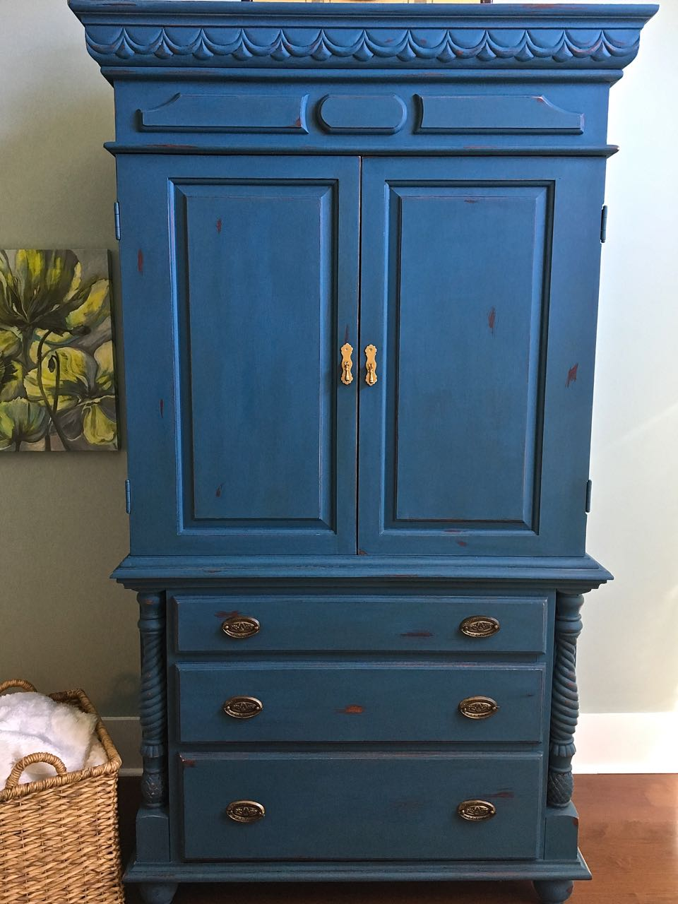 chalk painted armoire makeover