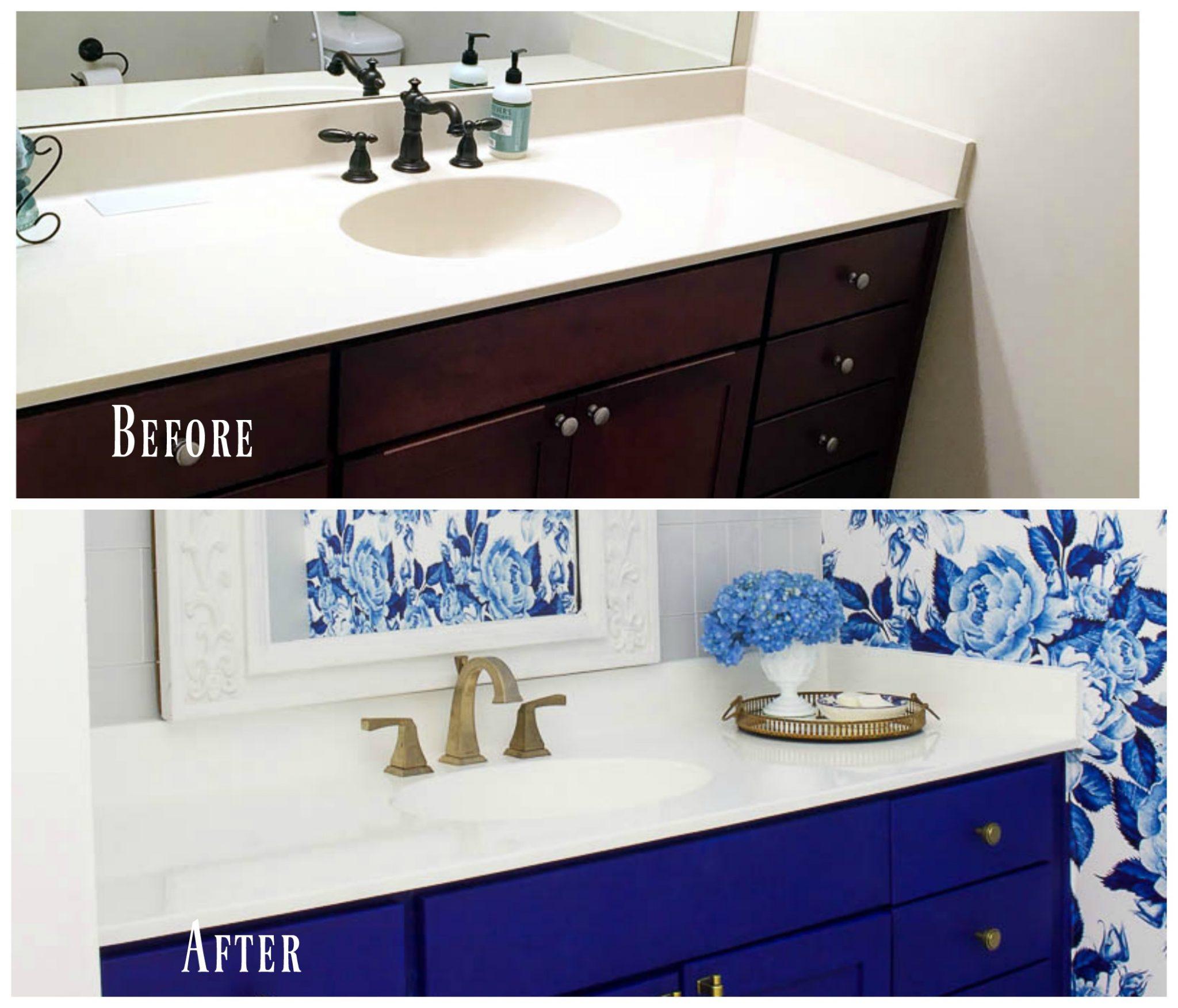 diy painted bathroom countertop and