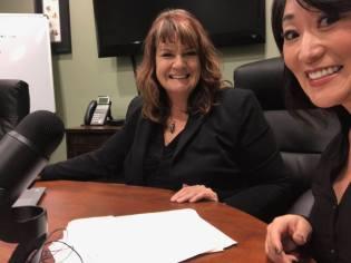 Tamara and Linda recording the 2BizChicks Podcast
