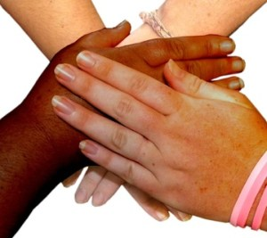 Various hands together