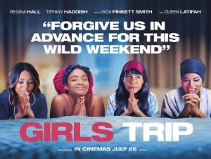 "Main characters from 'Girls Trip' praying over a bed with the quote ""Forgive us in advance for this wild weekend"" above them."