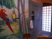 Casa del Consulado - our colorful bathroom complete with beach chair
