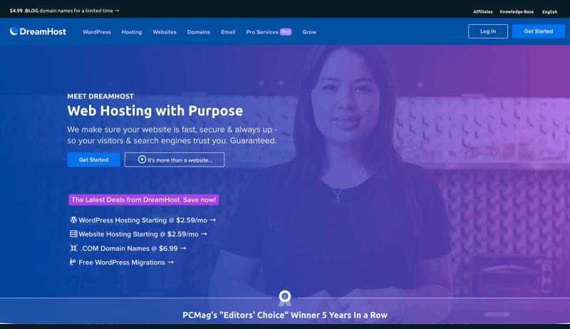 DreamHost Web Hosting Homepage