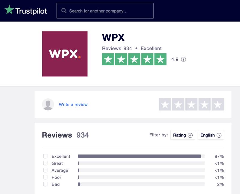 TrustPilot WPX Hosting Reviews