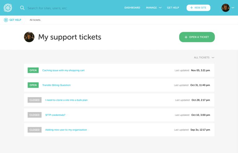 Flywheel support tickets