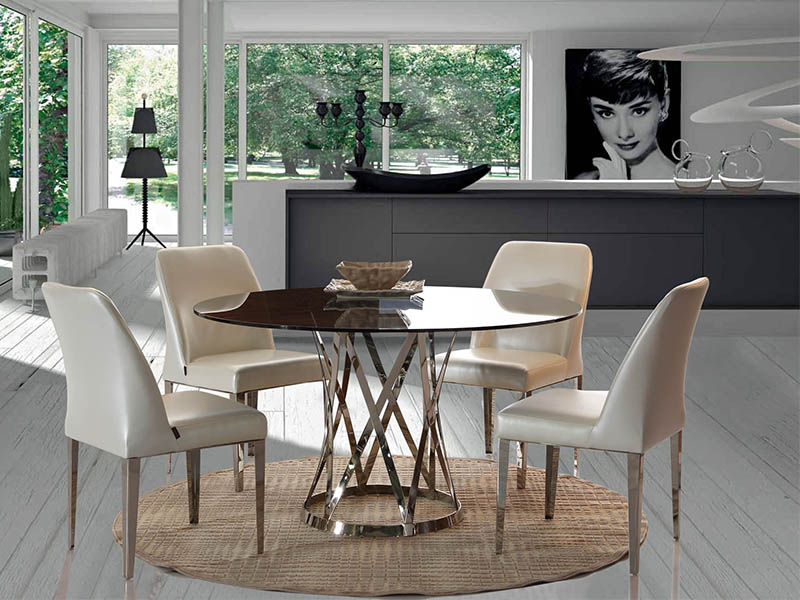 dining chairs with stainless steel legs heavy duty outdoor folding room furniture to make your home look fantastic lamberi glass table base and pu or leather upholstery dsl 8191 3885