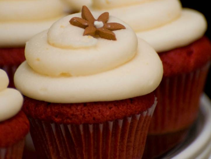 Close up photo of red velvet cupcakes