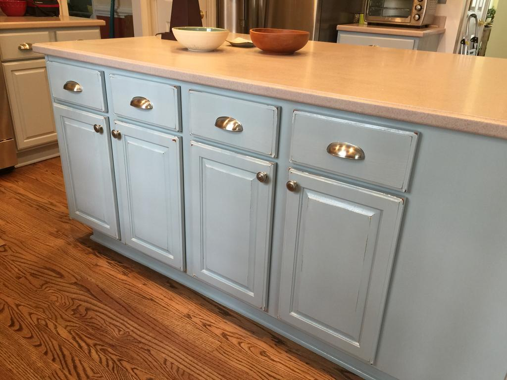White Kitchen Cabinets With Light Gray Island Colonial Pine + Wedgewood Gray - 2 Cabinet Girls