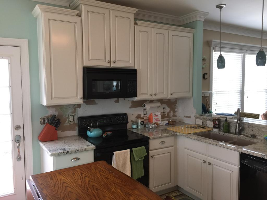 White Kitchen Cabinets With Light Gray Island Pearly White + Composed - 2 Cabinet Girls