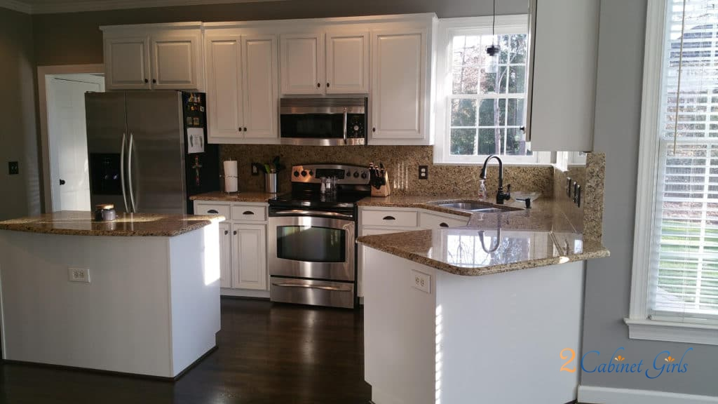 White Kitchen Cabinets With Light Gray Island Extra White & Anew Gray Pinstripe - 2 Cabinet Girls