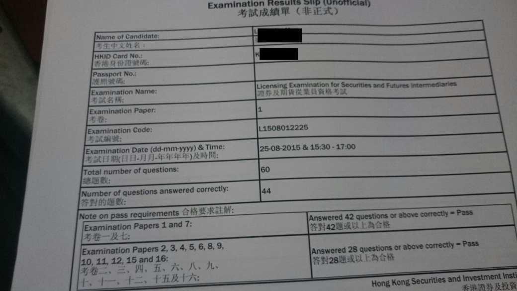 Kennisleung 25/8/2015 HKSI Paper 1 Pass