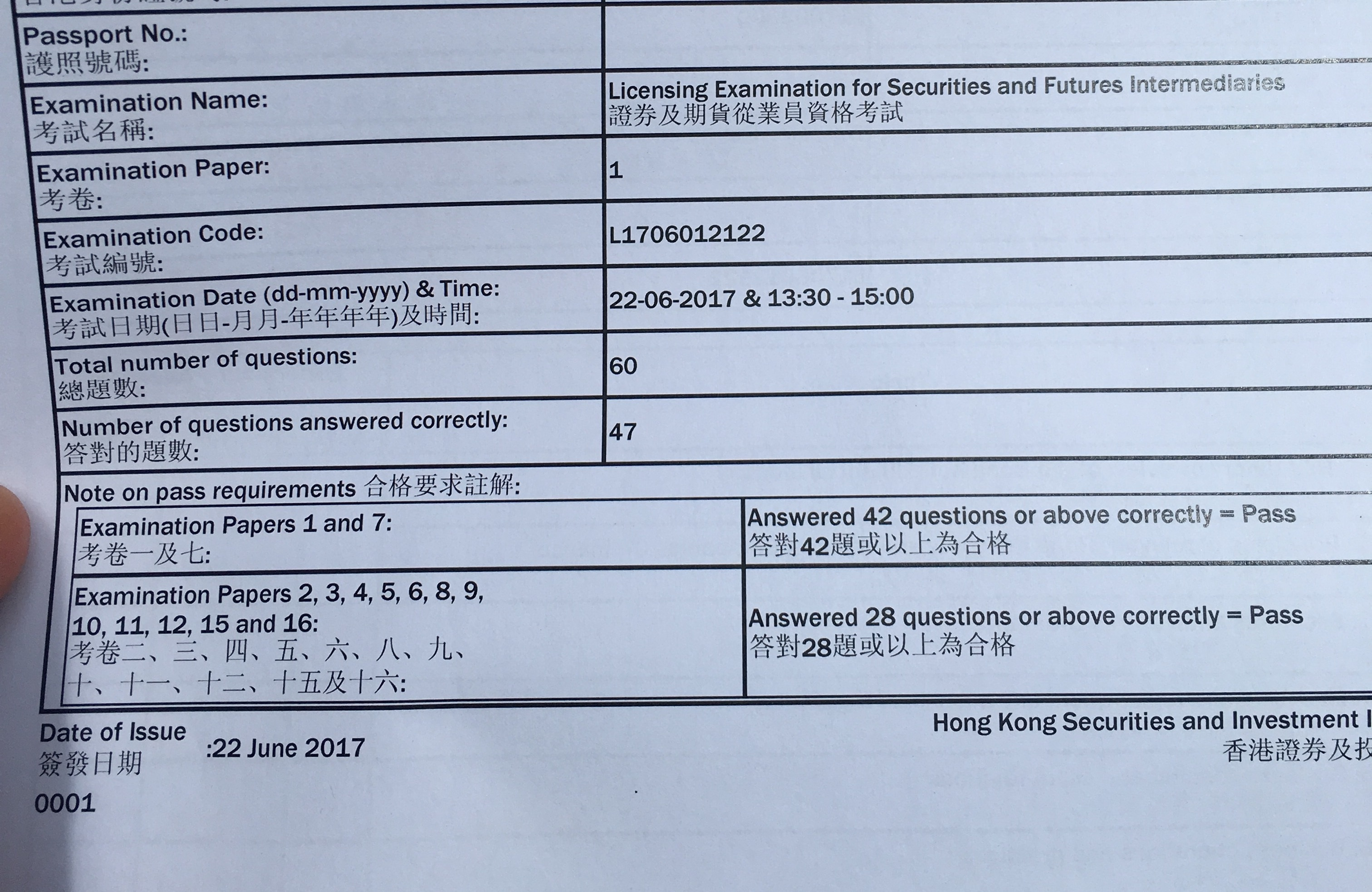 XX 22/6/2017 LE Paper 1 證券期貨從業員資格考試卷一 Pass