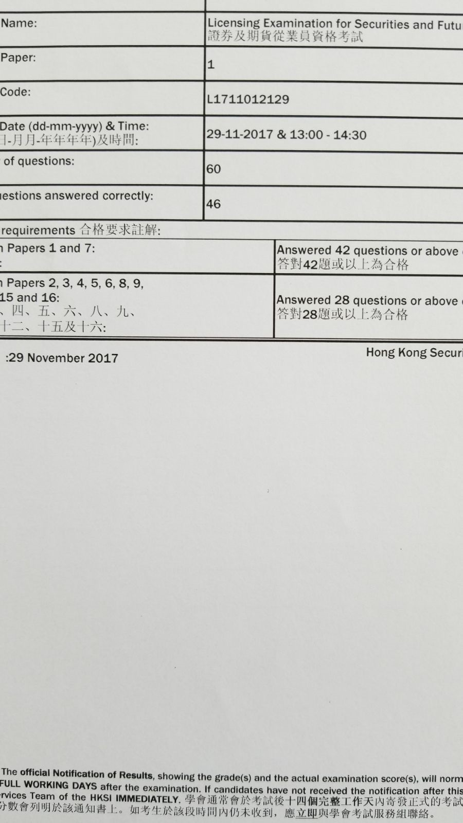 SLL 29/11/2017 LE Paper 1 證券期貨從業員資格考試卷一 Pass