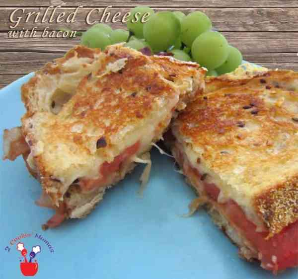 Grilled Cheese with bacon | 2 Cookin Mamas combination of 3 cheeses brings a normal grilled cheese sandwich to a whole new level. Add bacon, tomato & a rub of roasted garlic & you'll never go back.