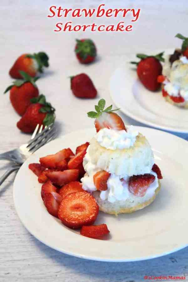 Strawberry Shortcake pin | 2CookinMamas A deliciously light angel food cake topped with sweet fresh strawberries and whipped cream. What's not to like?