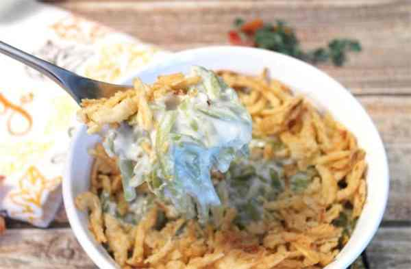 Traditional Green Bean Casserole spoonful | 2 Cookin Mamas