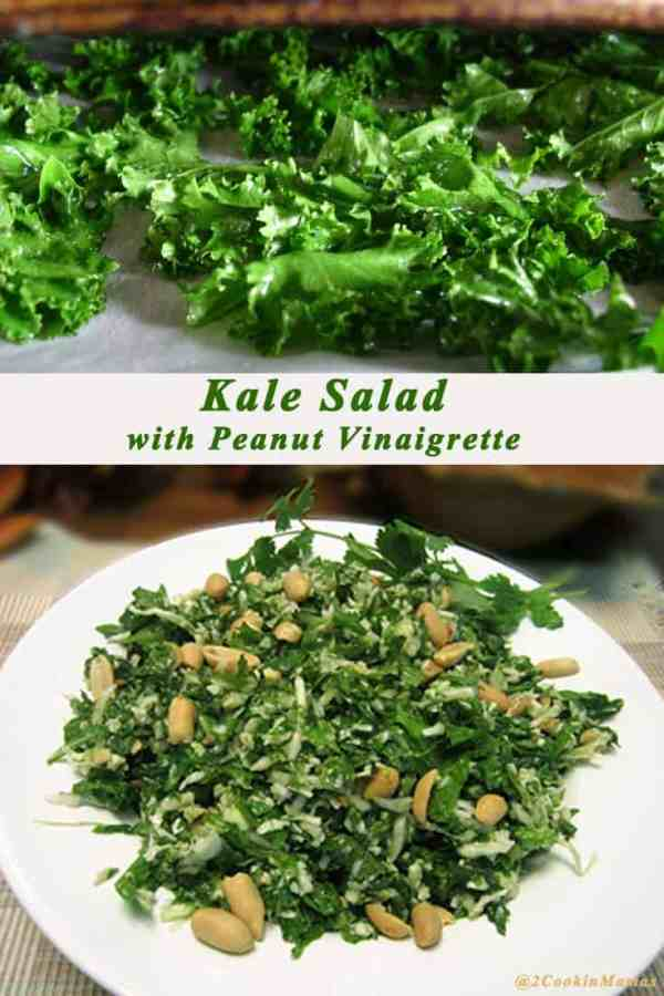 Kale Salad | 2CookinMamas Kale is dressed with a tangy peanut vinaigrette or a tasty addition to any meal.