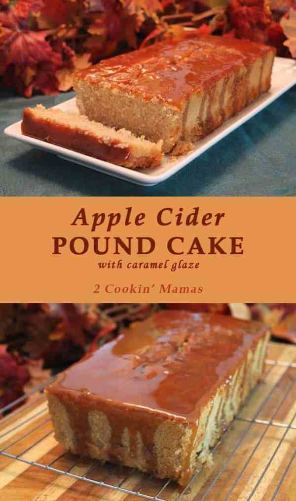 Apple Cider Pound Cake | 2 Cookin Mamas The perfect dessert or brunch treat, covered in a caramel glaze, that brings the taste of fall inside. #recipe